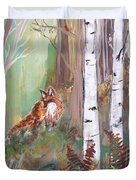 Red Fox And Cardinals Duvet Cover