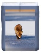Red Fox Crossing A Frozen Lake Duvet Cover