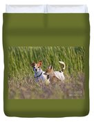 Red Fox Cub With Jack Russel Duvet Cover