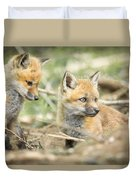Red Fox Kits Duvet Cover by Everet Regal