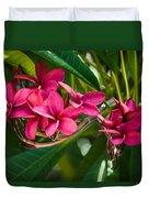 Red Frangipani Flowers Duvet Cover