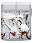 Red Fruit With Snow Duvet Cover