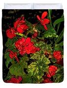 Red Geranium Line Art Duvet Cover