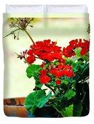 Red Geranium Duvet Cover