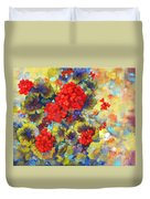 Red Geraniums II Duvet Cover