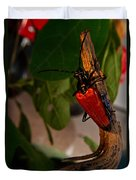 Red Glowing Beetle Duvet Cover