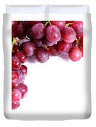 Red Grapes With White Copy Space Duvet Cover