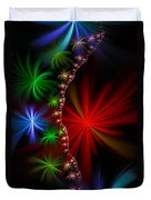 Red Green And Blue Fractal Stars Duvet Cover