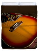 Red Guitar In Shadow Duvet Cover