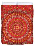 Red Gum Flowers Mandala Duvet Cover