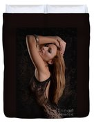 Red Hair Black Lace Duvet Cover