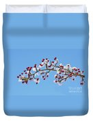 Red Haws Frosted By Snow Duvet Cover
