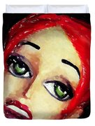 Red Head Around Corner Duvet Cover