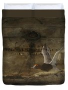 Red Head Duck Old Box Duvet Cover
