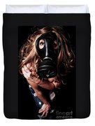 Red Head Gas Mask Duvet Cover