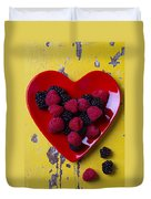 Red Heart Dish And Raspberries Duvet Cover