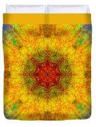 Red Heart Sun Rainbow Mandala Duvet Cover
