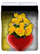 Red Heart Vase With Yellow Roses Duvet Cover
