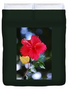 Red Hibiscus Flower Duvet Cover