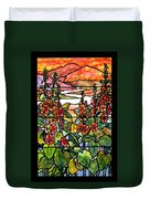 Stained Glass Tiffany Red Hollyhocks In Landscape In Watercolor Duvet Cover
