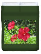 Red Hollyhocks Duvet Cover