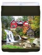 Red House By The Waterfall Duvet Cover