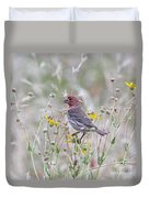 Red House Finch In Flowers Duvet Cover