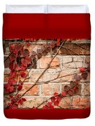 Red Ivy Leaves Creeper Duvet Cover