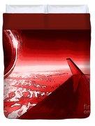 Red Jet Pop Art Plane Duvet Cover