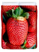 Red Juicy Delicious California Strawberry Duvet Cover