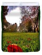 Red Leaf Under The Hot Autumn Sun  Duvet Cover