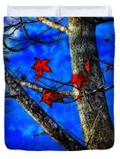 Red Leaves Blue Sky In Autumn Duvet Cover