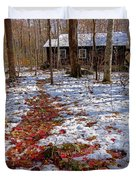 Red Leaves On Snow - Cabin In The Woods Duvet Cover