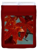 Red Leaves On The Branches In The Autumn Forest. Duvet Cover