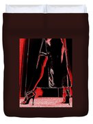 Red Light Black Dress Duvet Cover