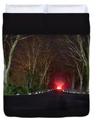 Red Light, Smoke And Flames Glowing Duvet Cover