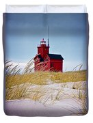 Red Lighthouse By Holland Michigan Known As Big Red Duvet Cover
