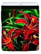 Red Lilies Expressive Brushstrokes Duvet Cover