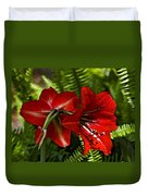 Red Lilies For Spring Duvet Cover