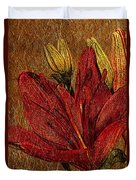 Red Lily Gold Leaf Duvet Cover