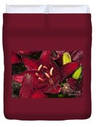 Red Lily Raindrops Duvet Cover