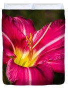 Red Magic Daylily Duvet Cover