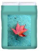 Red Maple Blue Duvet Cover