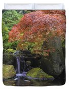 Red Maple Tree Over Waterfall Pond Duvet Cover