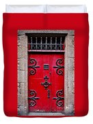 Red Medieval Door Duvet Cover