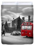 Red Midland Bus And Sheep - 1960's    Ref-126 Duvet Cover