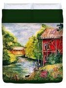 Red Mill At Waupaca Duvet Cover