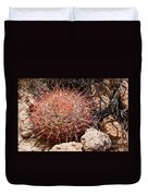 Red Mohave Barrel Cactus Duvet Cover
