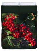 Red Nandina Berries - The Heavenly Bamboo Duvet Cover