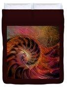 Red Nautilus Duvet Cover